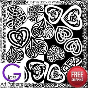 Celtic-Heart-Fusing-Glass-Decal-Waterslide-Ceramic-Enamel-Black-White-Fused