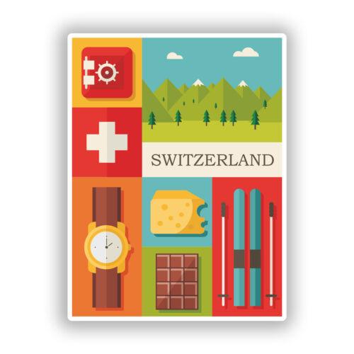 2 X Pegatinas De Vinilo De Viaje Equipaje #10778 Suiza