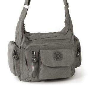 2e2032d022559 Das Bild wird geladen Schultertasche-Nylon-grau-Sportliche-Damen- Umhaengetasche-OTJ204K-Bag-