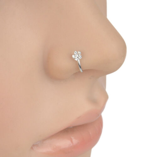 Acier inoxydable petite Fine Cristal Strass Fleur Nez Anneau Hoop Bijoux US