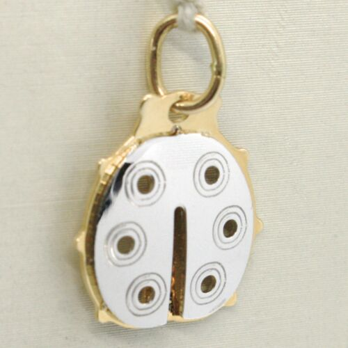 breloques MADE IN ITALY 18K Jaune /& or blanc coccinelle pendentif finement travaillé