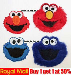 Blue Red Cookie Monster Cartoon Kids Muppets Iron On Sew On Patch Badge