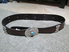 NEW Ralph Lauren Polo Women Concho Southwest Turquoise Leather Belt Womens Large