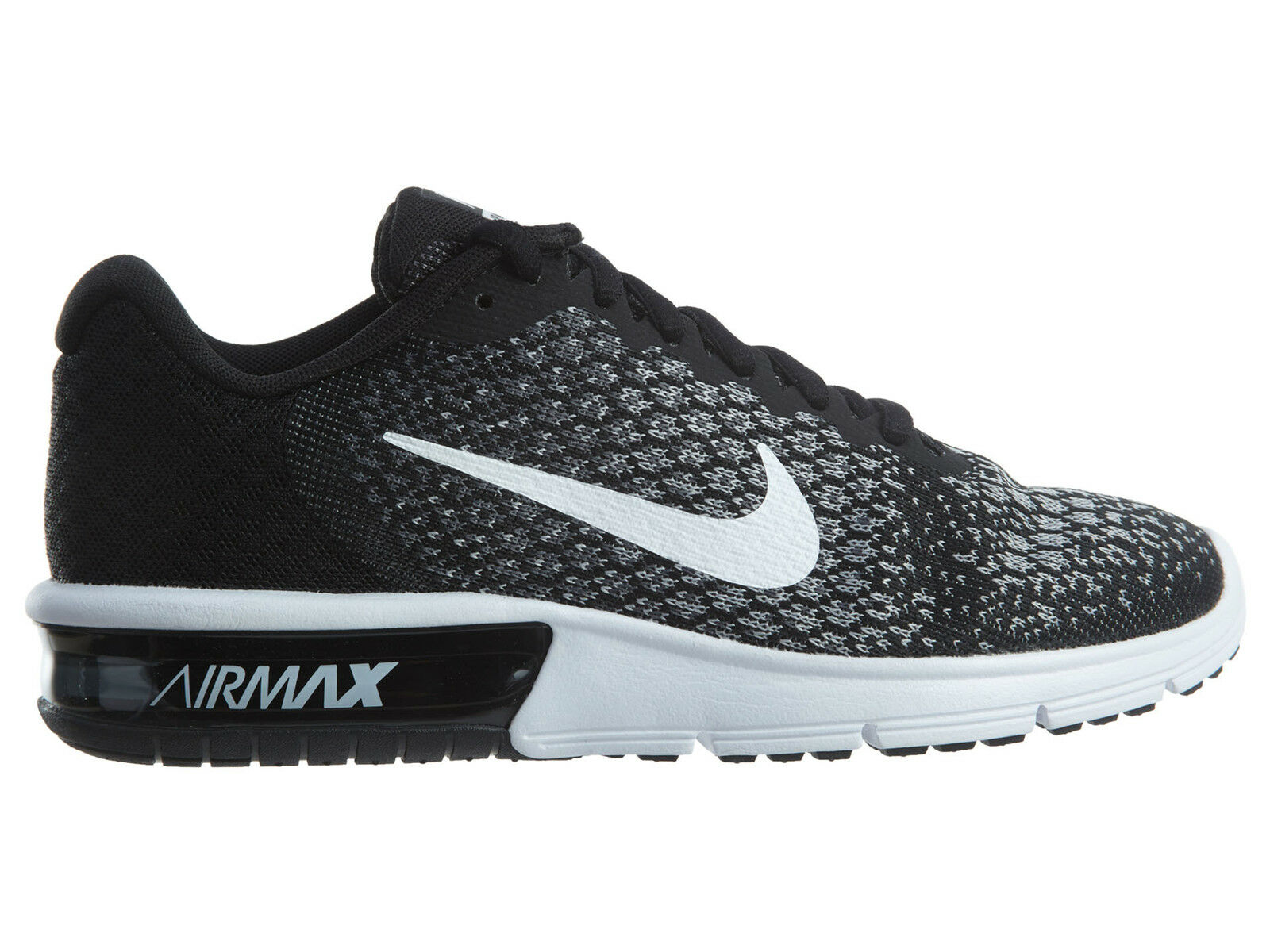 Nike Air Max Sequent 2 Womens 852465-002 Black Grey Knit Running Shoes Size 8.5