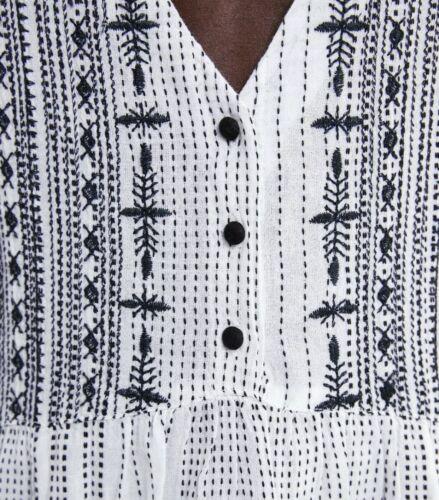 NEW ZARA SS19 EMBROIDERED A-LINE DRESS BLACK WHITE  5598//036