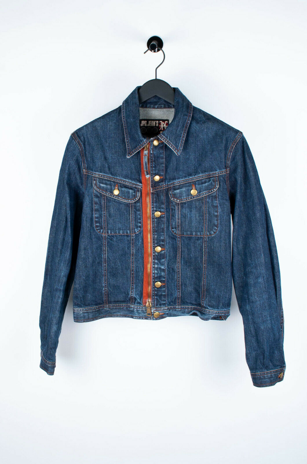 Original Jean Paul Gaultier Blau männer Zipped Denim jacke in Größe 50I 34USA