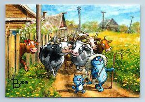 funny cats on cow farm russian peasant villagezeniuk