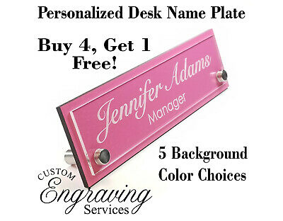 DESK NAME PLATE TWO TONE WOOD AND ACRYLIC OFFICE DESK PLATE PLAQUE SIGN