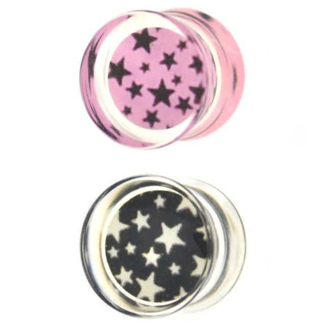 """PAIR - CRAZY STAR PRINTS  CLEAR ACRYLIC EAR PLUGS DOUBLE FLARED GAUGES (2g-5/8"""")"""