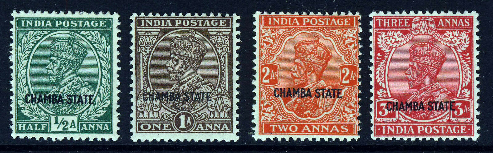 CHAMBA STATE INDIA King George VI 1935-36 Part Set to 3 As. SG 76 to SG 80 MINT