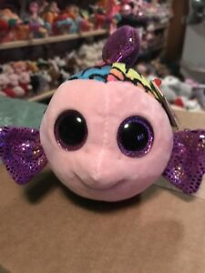 "7aadd1651bb Ty FLIPPY -Rainbow Purple Shiny Plush Fish 6"" Beanie Boo!  Retired ..."