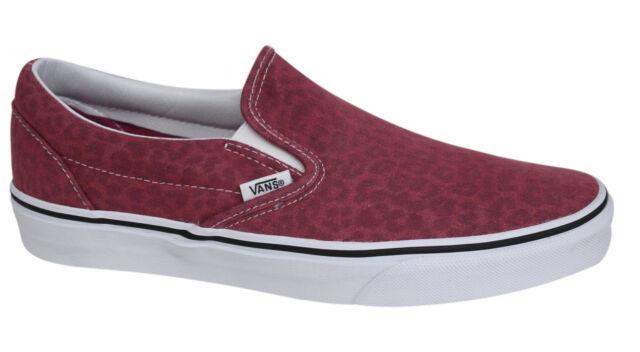 df5d5e9378 Vans Classic Slip On Mens Pink Denim Leopard Print Plimsolls Trainers  UC48K3 D3