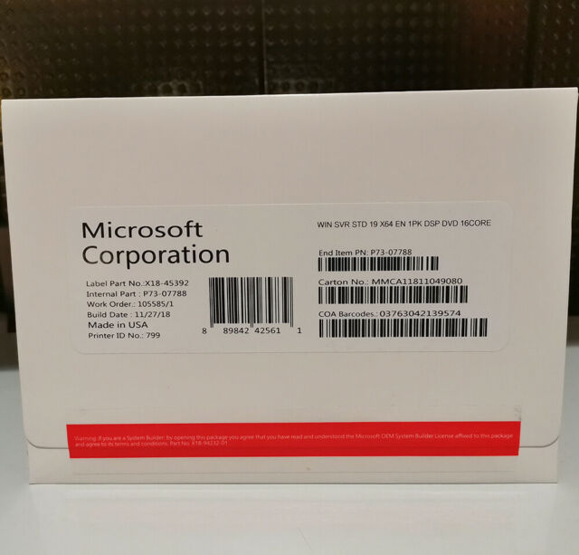 Microsoft Windows Server 2019 Standard 64Bit OEM DVD English 16 Core