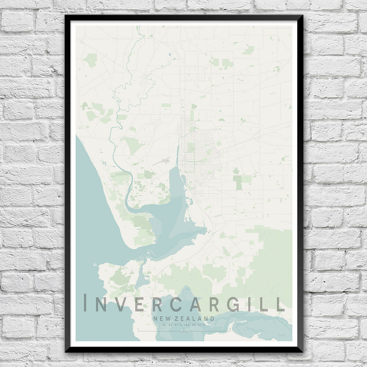 INVERCARGILL Map Print, New New New Zealand Wall Art Poster City Map Wall Decor A3 A2 A1 226856