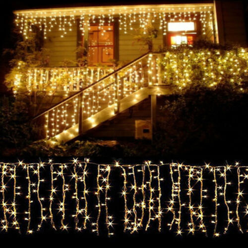 10~100FT 96-960 LED Warm White Icicle Curtain Lamp Hanging Xmas String Lights BA