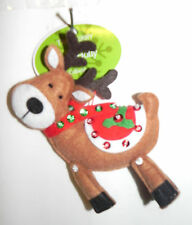 """New  Christmas Ornament: Felt Stuffed Reindeer Red Saddle 6"""" Tall LOOK Unique"""