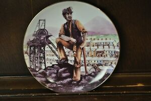 SAXONY-1985-Lovely-Vintage-Coal-Mining-David-Fisher-Picture-Plate-24cm