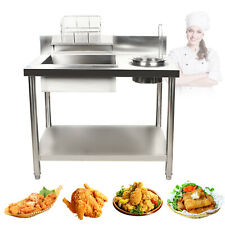 Modern Breading Table Prepare Station Chicken Fish Fried Stainless Steel Worktop