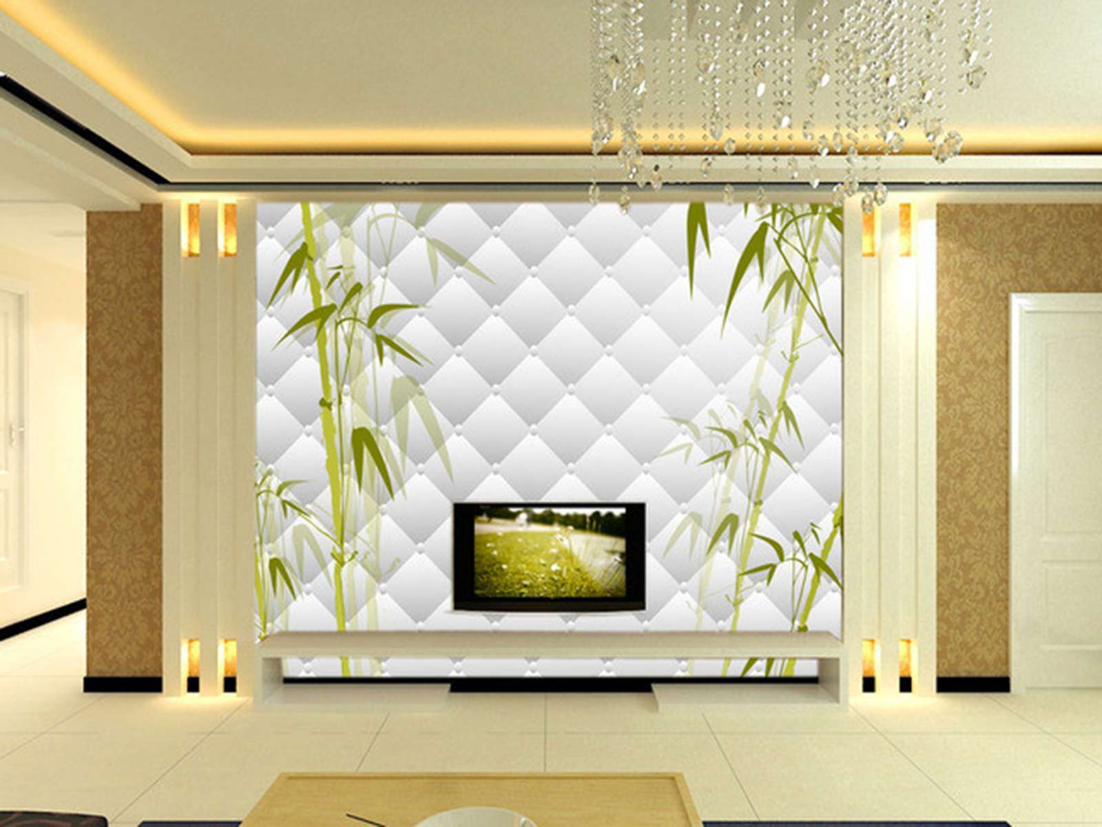 3D Grid Bamboo 4105 Wallpaper Murals Wall Print Wallpaper Mural AJ WALL UK Kyra