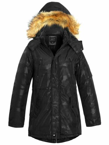 Boys Coat Parka Ages 4 7 8 9 10 11 12 13 14 Years Jacket Faux Fur Black Navy