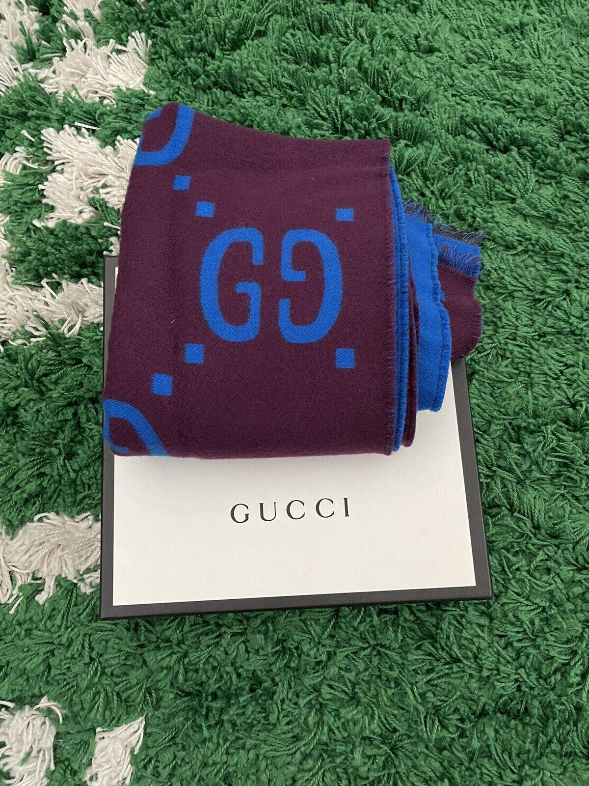 Gucci GG jacquard wool silk scarf - image 8
