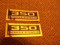 Chevrolet 350hp 350 Horsepower Engine Valve Cover Decals Set Pair Black / Gold