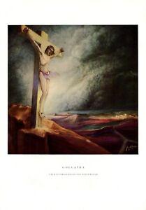 Golgatha Golgotha XL 1927 Kunstdruck Heinz Woelm Jesus Kalvarienberg Kreuzigung