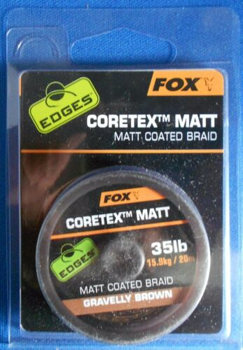 FOX EDGES CORETEX MATT,MATT COATED BRAID 15lb 25lb 35lb WEEDY GREEN GRAVELLY