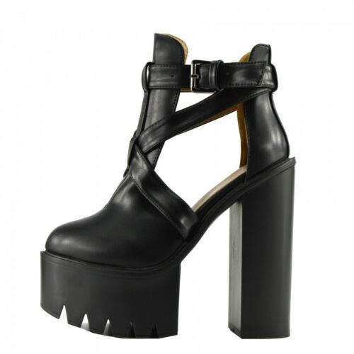Ladies Chunky Platform Sole Lace up Cleated High Heel Bootie Ankle Shoes