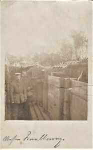 WW1-TRENCH-SCENE-GERMAN-ARMY-FRONT-DAILY-LIFE-WAR-ANTIQUE-RPPC-PHOTO-POSTCARD