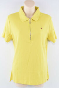 Tommy-Hilfiger-WOMEN-039-S-1-2-Zip-Polo-Shirt-Top-giallo-taglia-media