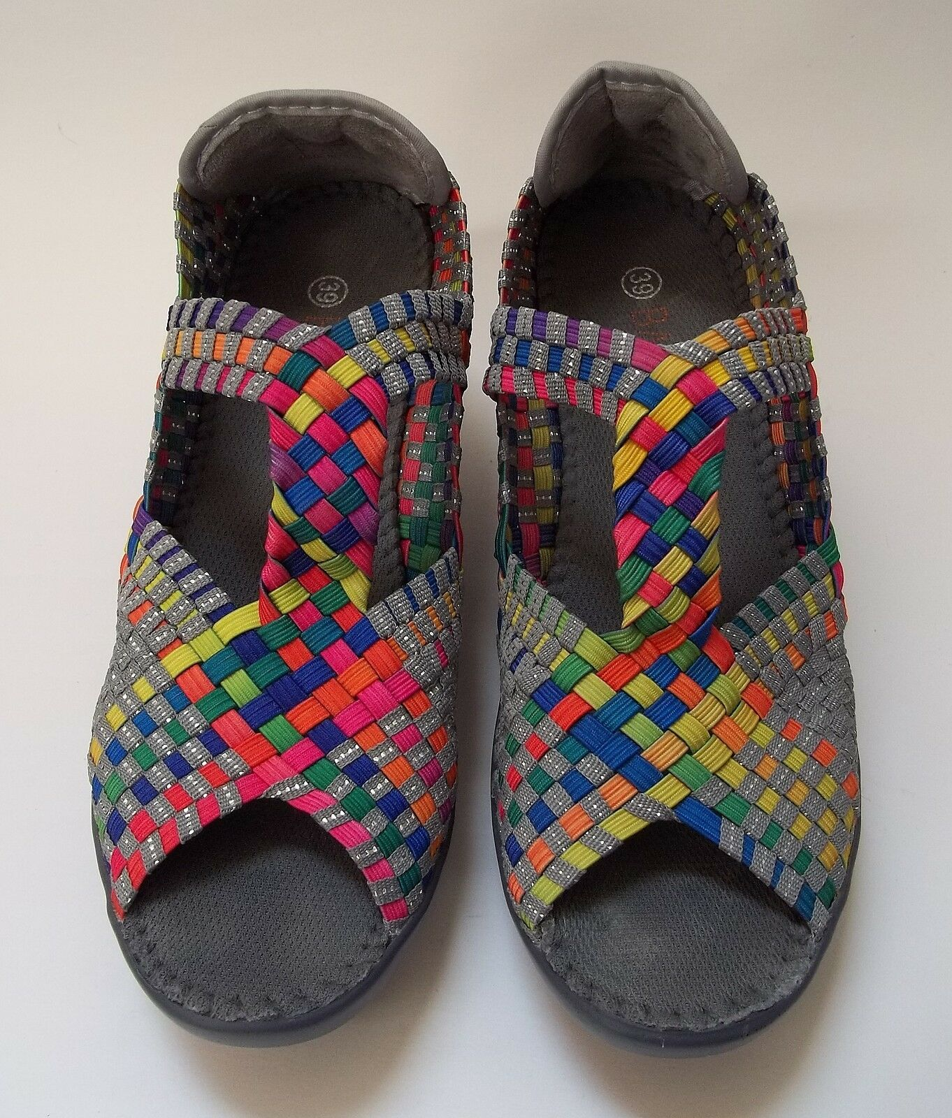 outlet Bernie Mev BM scarpe scarpe scarpe Peep Toe Weave Coloreful Wedge Heels Dimensione 39   US 8.5  fantastica qualità