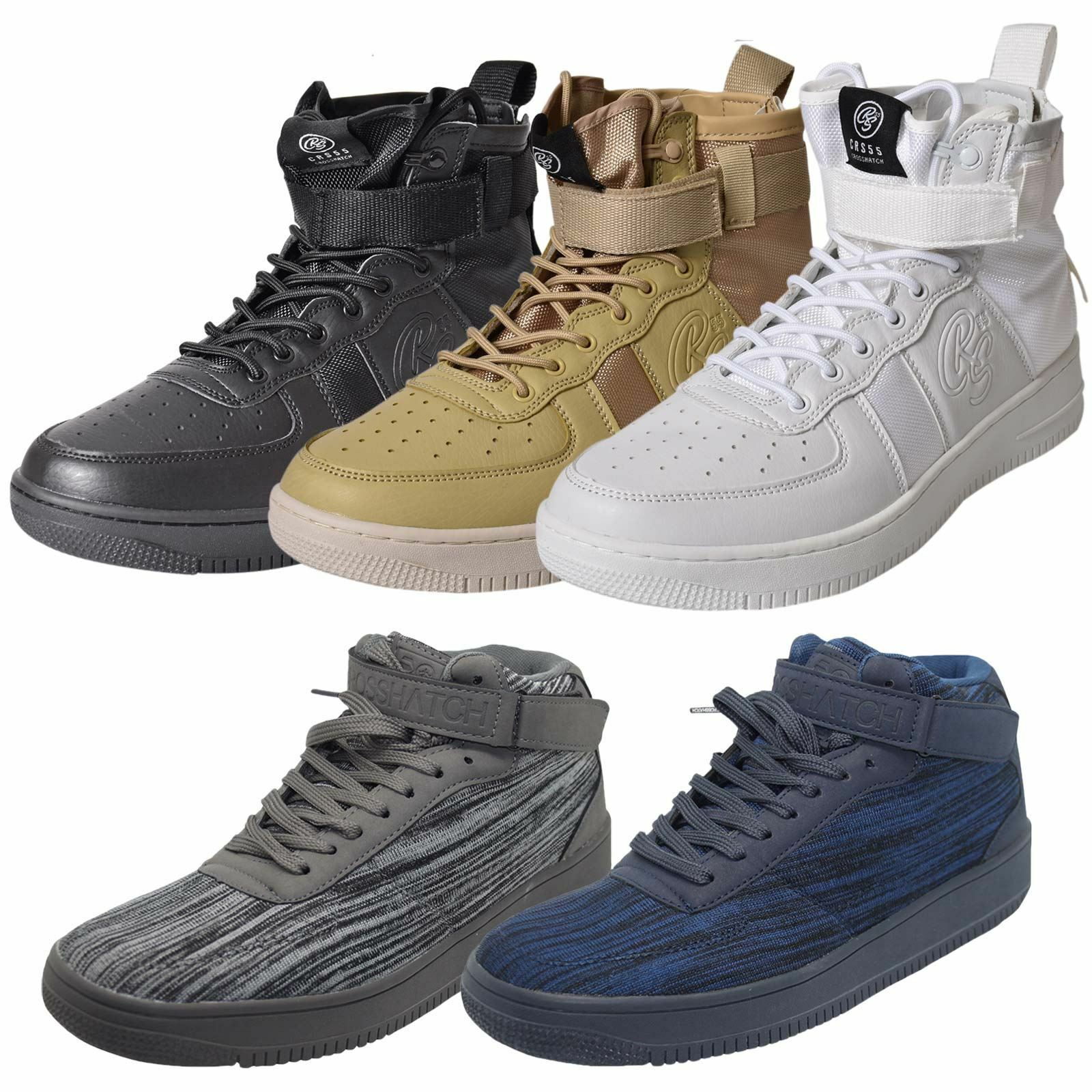 Mens New Crosshatch Fleetfoot Trainers Hi Top Ankle Boots Lace up Comfy shoes
