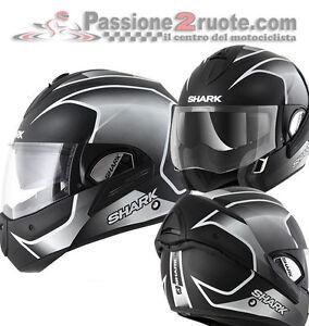 Helmet-Shark-Evoline-3-Starq-Matt-Black-White-Moto-flip-up
