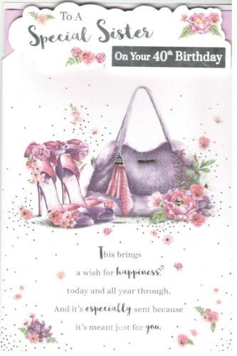 Cartes De Voeux Papeterie Maison Pour Un Special Soeur Sur Votre 40th Anniversaire 40th Carte D Anniversaire Pour Sœur