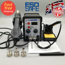 2in1 8586 Digital Soldering Iron Station Desoldering Hot Air Gun SMD Rework LED