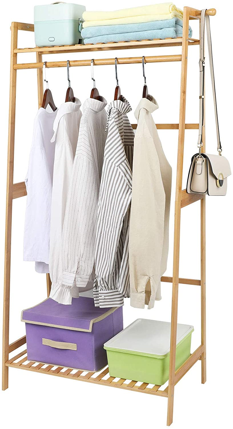 Ufine Bamboo Clothes Hanging Rack with 2 Tier Storage Shelves and 2 Coat Hooks
