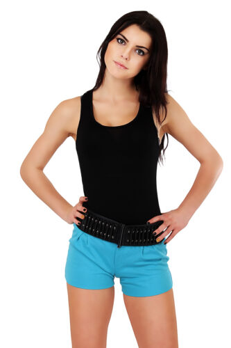 Elegant Womens Shorts with Button New UK Trousers Hot Colors Size s8-12 FA115
