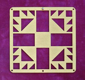 Mini-Barn-Quit-Metal-2-5-034-Bronze-Quilt-Block-Bear-039-s-Paw-Pattern