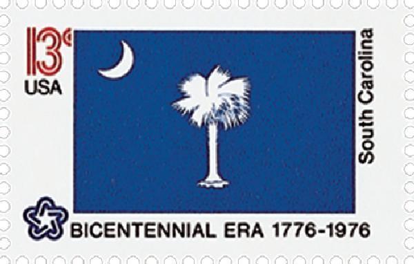 1976 13c South Carolina State Flag, Bicentennial Era Sc