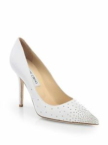Image Is Loading Jimmy Choo Abel White Studded Y Pointy Toe