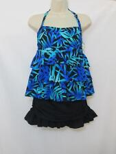 NWT Island Escape 2 Piece Ruffle Tankini Top with Skirtini Blue Floral Size 10