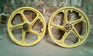 Ogk wheels front and rear yellow 1980s old school bmx skyway tuff pk ripper