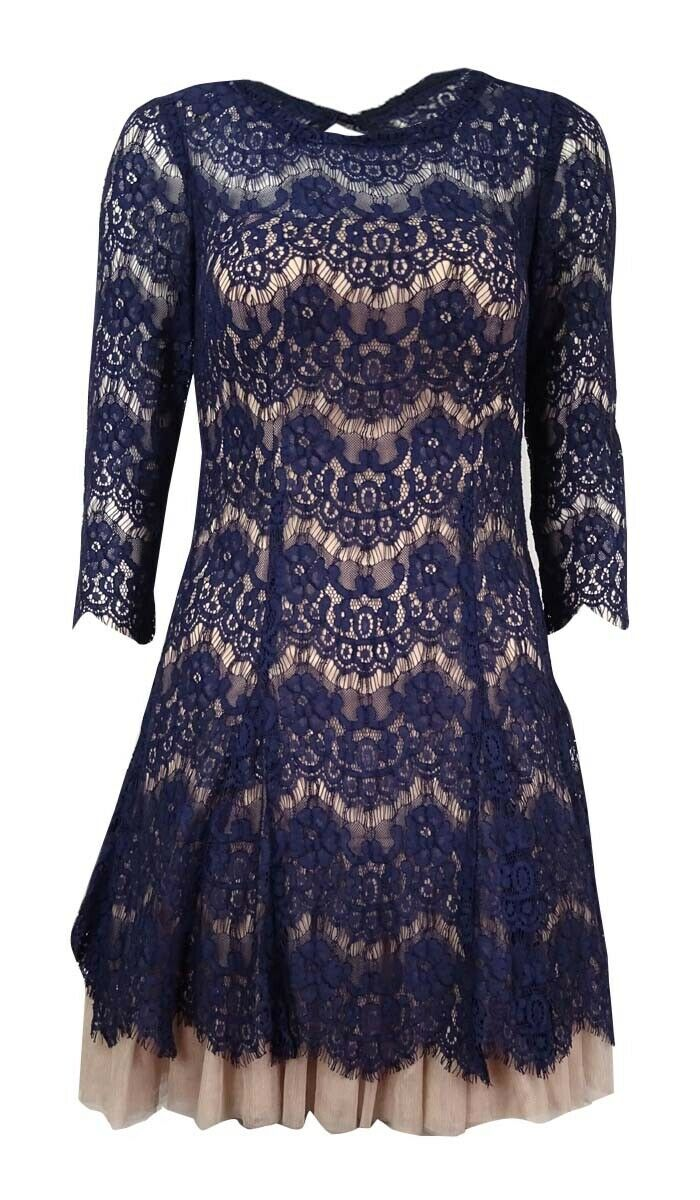 Betsy & Adam Women's Lace Tulle Mini Dress