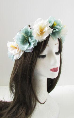 Mint Green Ivory Flower Headband Halloween Sugar Skull Hair Crown Garland 136