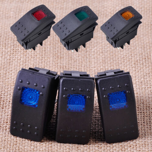 3pcs 4Pin Waterproof Rocker Toggle Switch Button LED Light for 12V 20A Car Boat