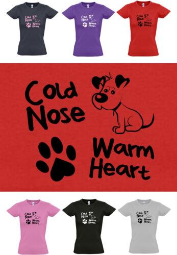 femmes t-shirt 8 à 16 chiots//chiens//paw print mignon chien chaud coeur Cold nez