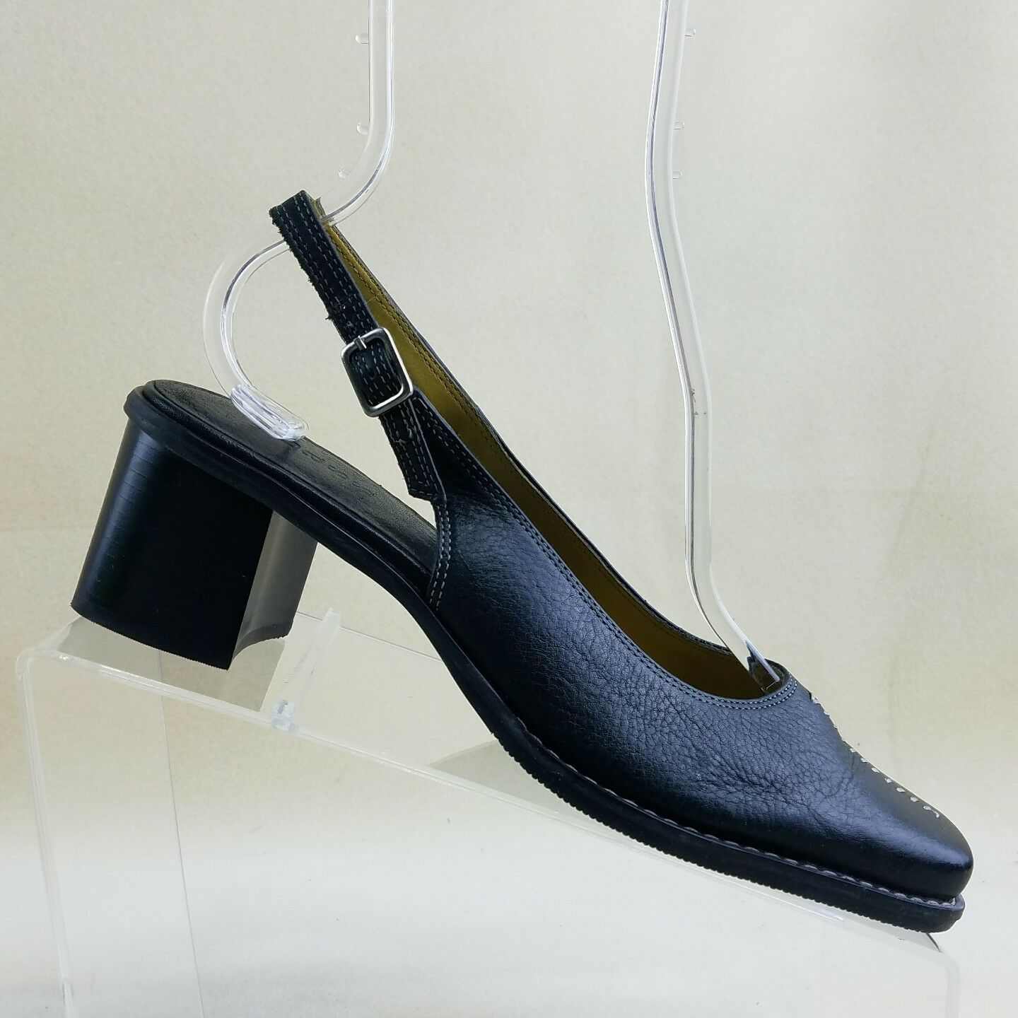 Bass On Womens Black Leather Slip On Bass Slingback Buckle Heels Clogs Shoes 7.5M #G18 f6619f