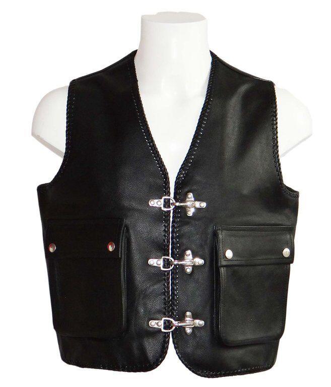 Bikerweste Kutte Lederweste Karabinerhaken Nappa Leder schwarz Größe Größe Größe M | Haltbar  6ffa9a