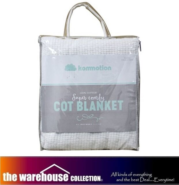 KOMMOTION WHITE 100% COTTON COT BABY CRIB BLANKET CELLULAR PEBBLE WEAVE 114X152
